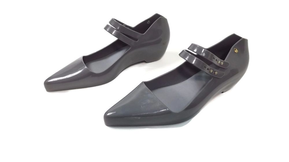 Karl Lagerfeld womens shoes size 7 M Melissa Mary Jane Rubber Gray Flats  #KarlLagerfeld #
