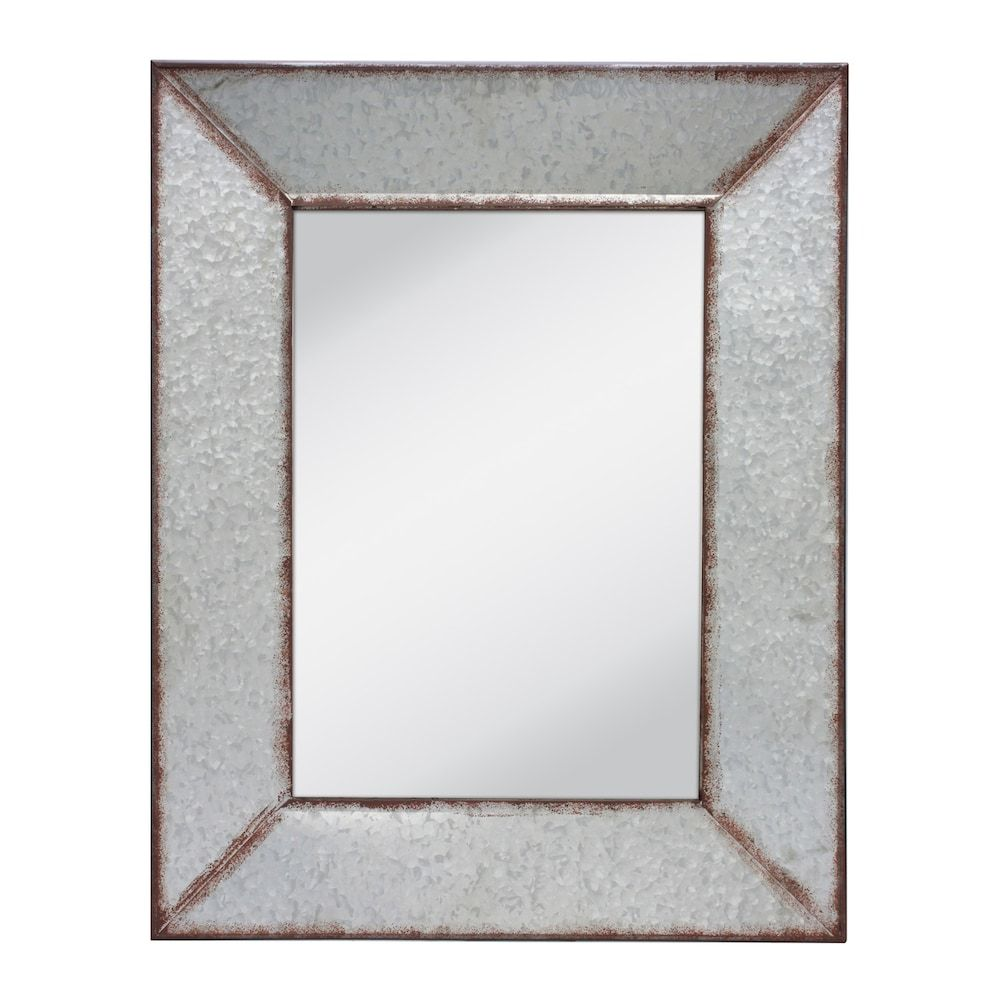 Rustic Rectangular Galvanized Metal Frame Hanging Wall Mirror Hanging Wall Mirror Galvanized Metal Wall Metal Wall Hangings