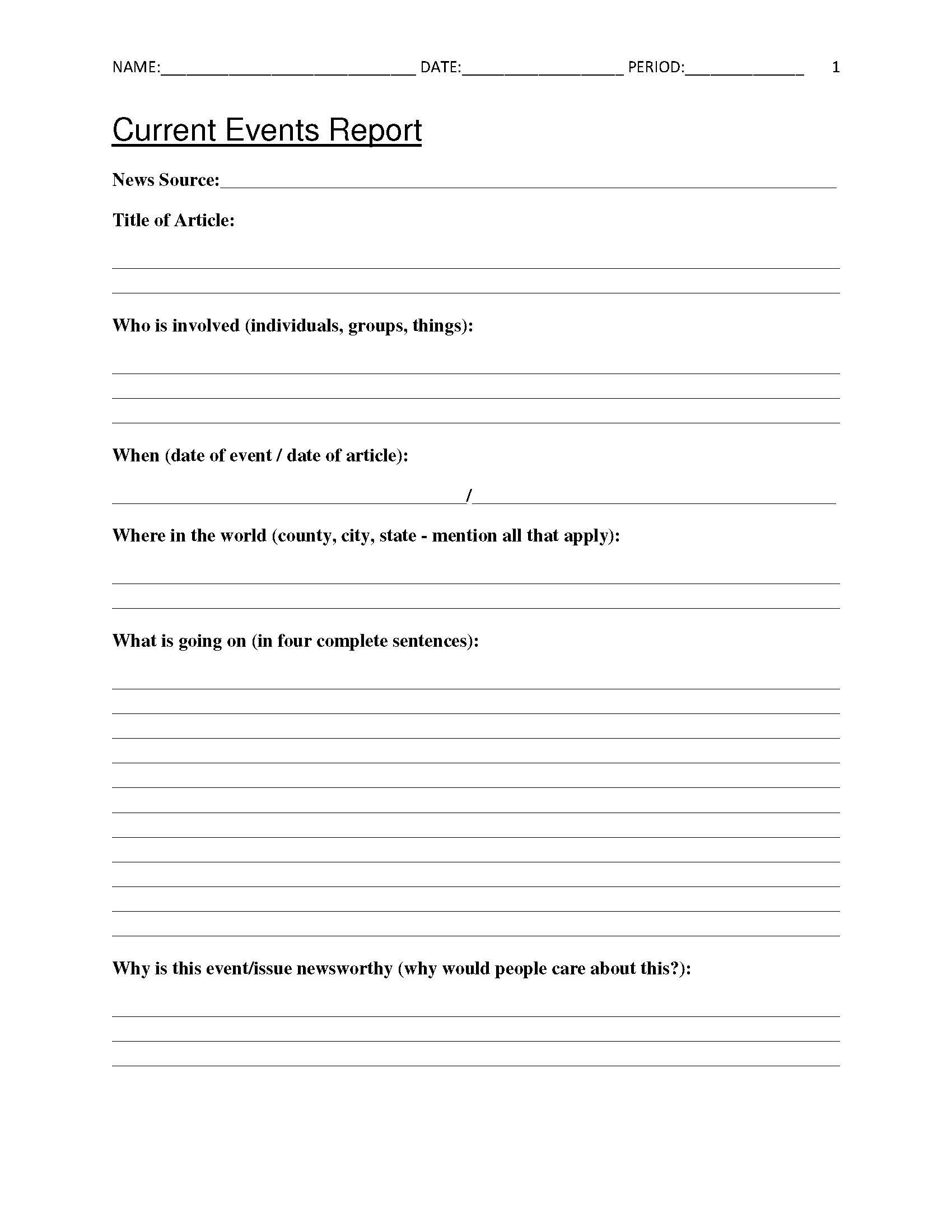 Free Current Events Report Worksheet for Classroom Teachers   Current  events worksheet [ 2200 x 1700 Pixel ]