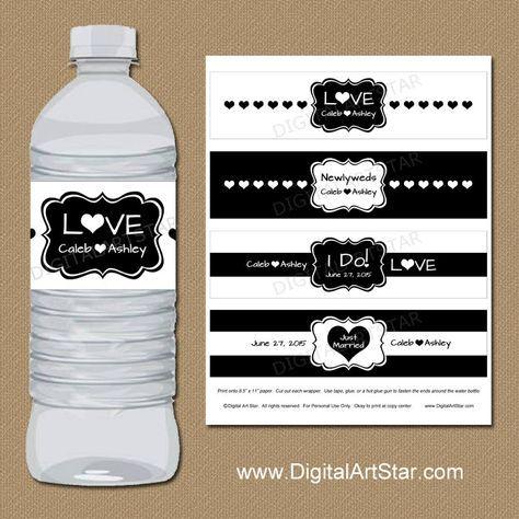 Celebra tu boda con estilo con estas etiquetas de botella de agua de la hermosa boda blanco y negro para imprimir. O imprimir la carta de colores para seleccionar colores personalizados.  Tienda para más boda imprimibles: http://etsy.me/1IU5t24  ** Este es un archivo PDF imprimible. Física nada se enviará a usted. **   LO QUE TIENES ------------------------------------------------------ INCLUYE: * 1 archivo PDF para imprimir (8.5 x 11) * Instrucciones para la impresión y montaje  DETALLES…