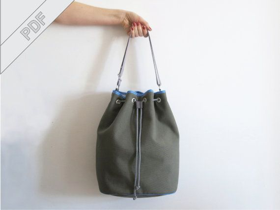 sewing tutorial with sewing pattern for a bucket bag, drawstring bag ...