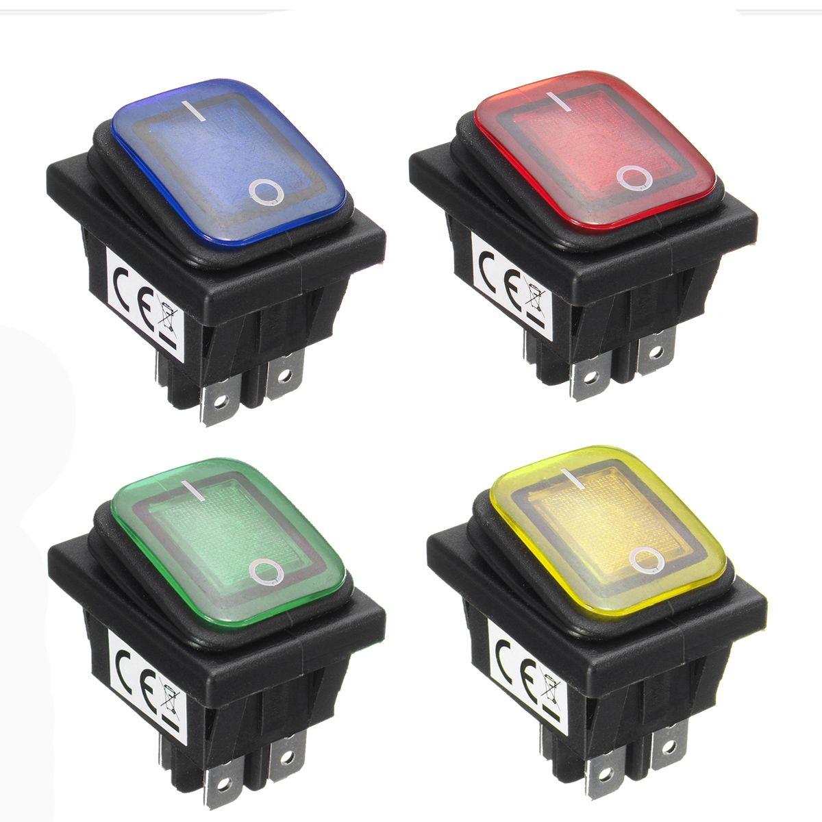 Waterproof 12V 16A Rocker Reset Single Toggle Switch With LED Light ...