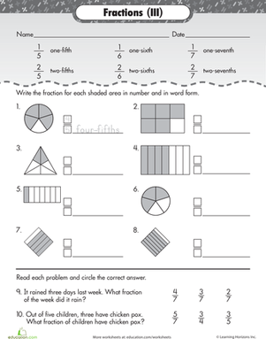 writing fractions in words worksheets