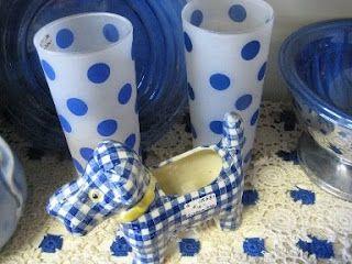 Vintage Blue Polka Dot Kitschy Collectibles