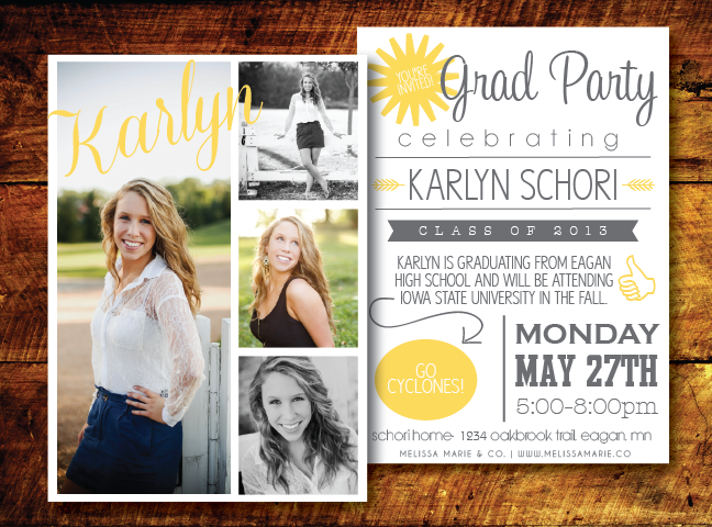 Modern Graduation Card Design Mustard Gray Open House Invite