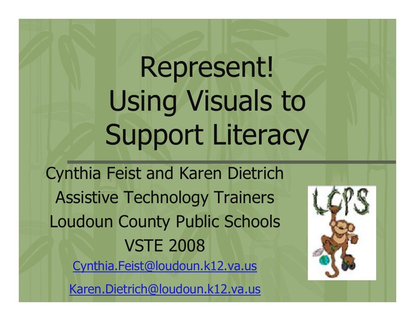 Represent using visuals to support literacy skills by tolbert using visuals to support literacy skills by tolbert elementary via slideshare stopboris Image collections