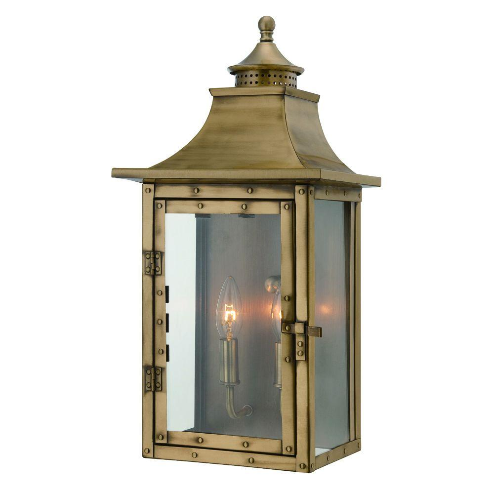 st charles collection wall mount 2 light outdoor aged brass light