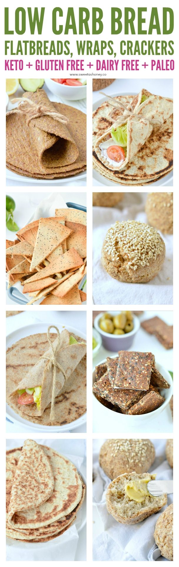 Low carb bread - keto bread recipes made with almond flour, coconut flour , psyllium husk or flaxseed meal. Easy, homemade recipes: flatbread, buns, wraps and more. #keto #lowcarb #almondflour #coconutflour #flaxseedmealrecipes