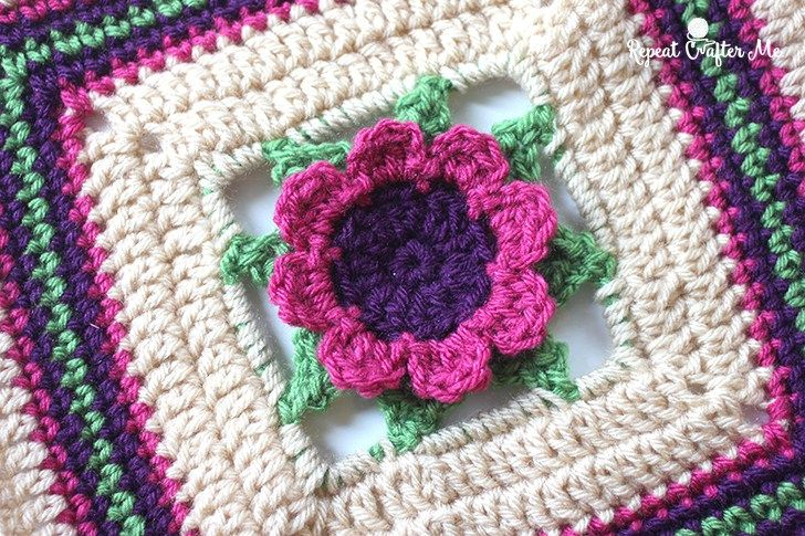 3d Crochet Flower Granny Square Repeat Crafter Me Afghans