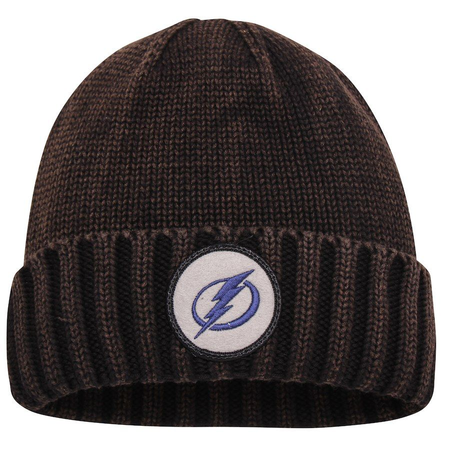 03901aa55673f Men s Tampa Bay Lightning Mitchell   Ness Brown Current Logo Ribbed Cuffed  Knit Hat
