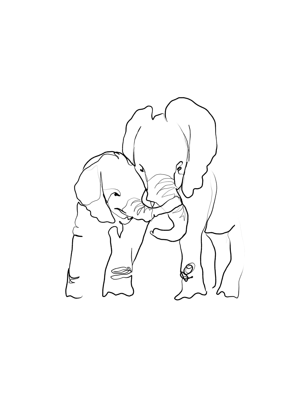 Minimalist Elephant Drawing: Elephant Siblings Friends Family Line Art Print Minimalist