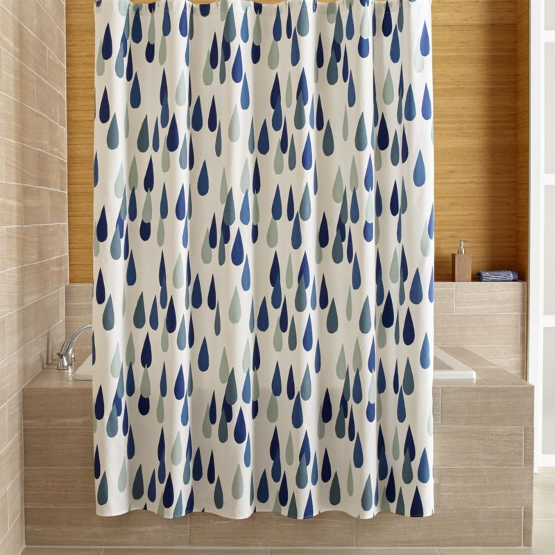 Shop Marimekko Iso Pisaroi Shower Curtain Oversized Raindrops In Finnish Rain Beautiful Shades Of Green And Blue On White Maija Louekaris
