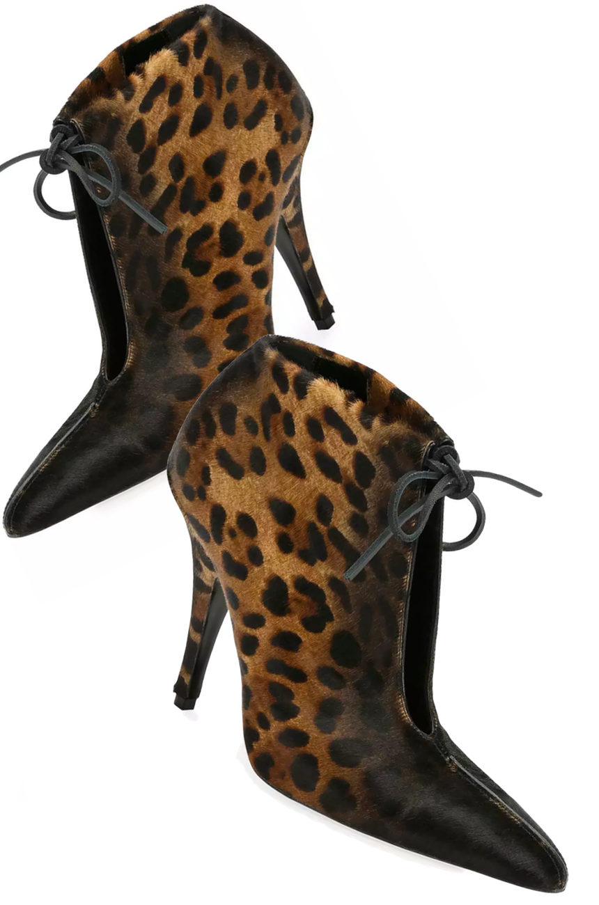 5eeac935ca805 TOM FORD Leopard-Print Ankle-Tie 105mm Bootie, Black/Multi | SHOES ...