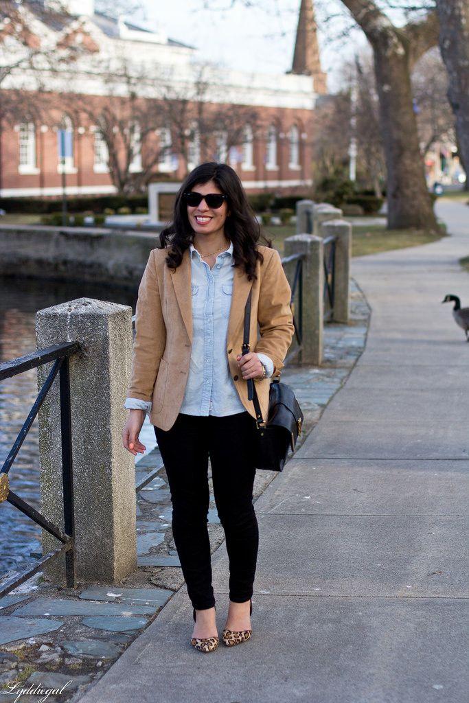 camel blazer, chambray shirt, black jeans, leopard pumps-4.jpg