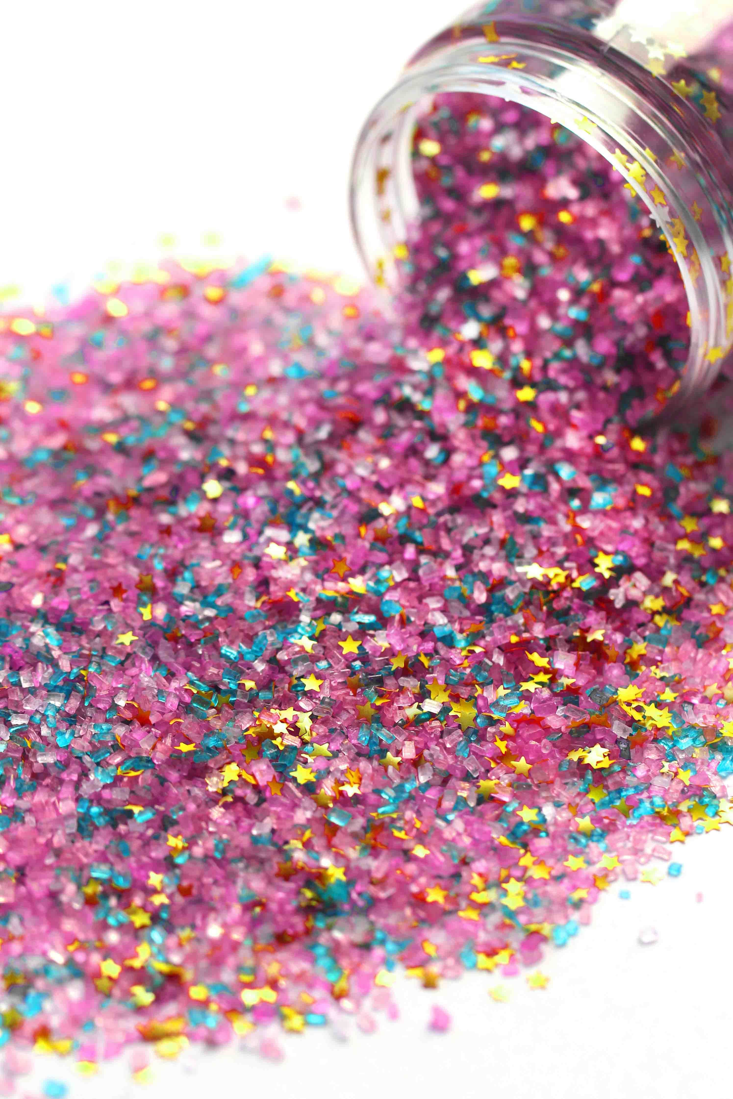 golden birthday rainbow turquoise pink edible sugar crystals