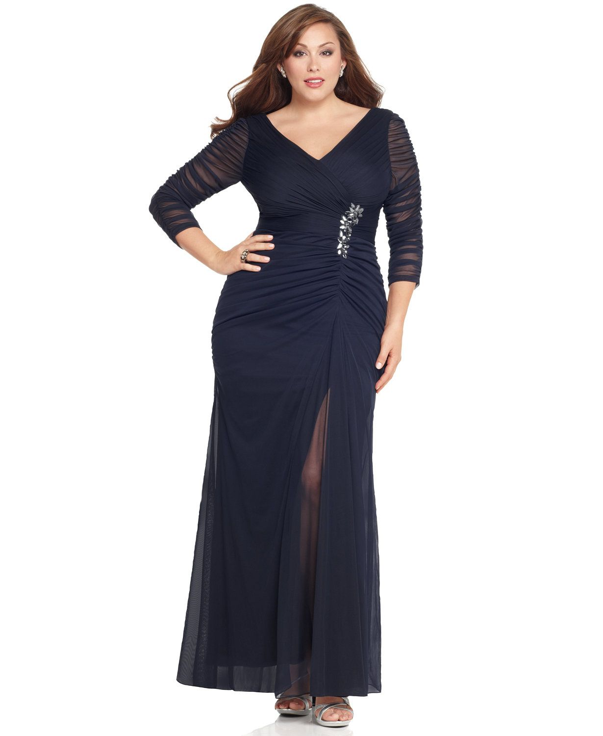 Plus Size Three-Quarter-Sleeve Ruched Gown | Mother Of The ...
