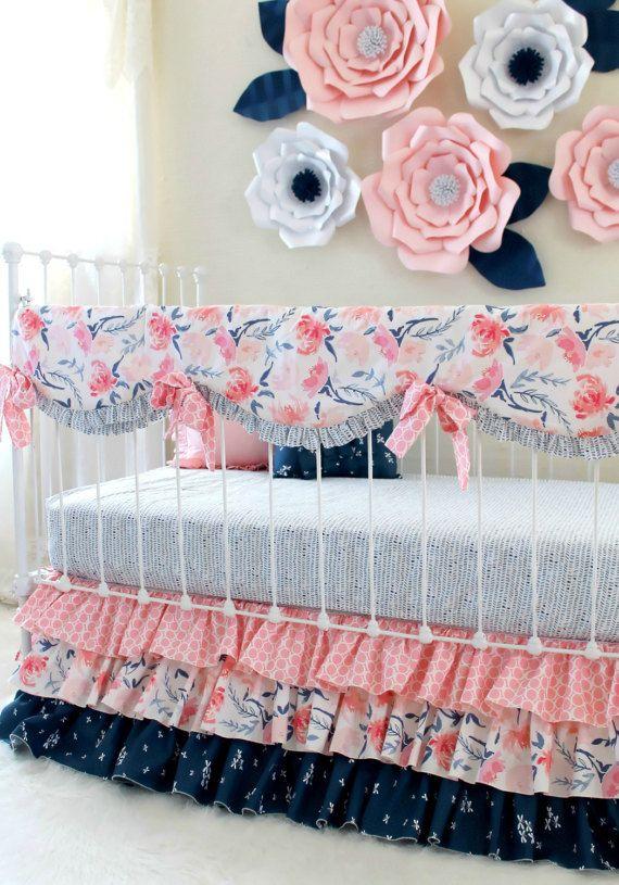 Crib Bedding Set Pink And Navy