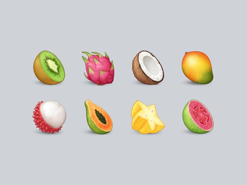 Tropical Fruit Emoji | Fruit icons, Fruit doodle, Fruit
