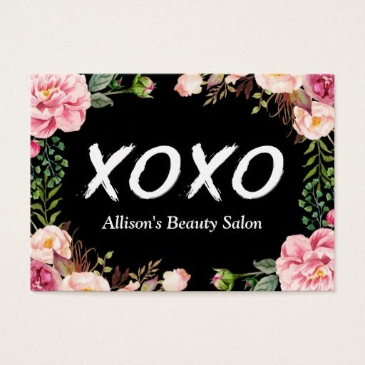 xoxo beauty spa salon elegant floral wrapping business card spa