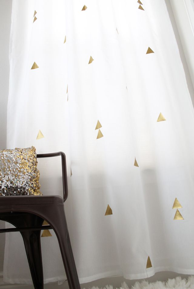 My Sisters Suitcase DIY Curtains With A Metallic Twist Gold Heat Transfer Vinyl