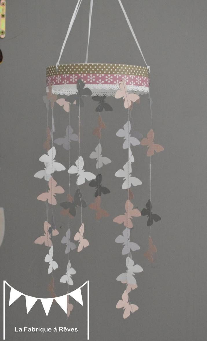 Mobile suspension papillons rose poudr gris et blanc - Decoration chambre enfant fille ...
