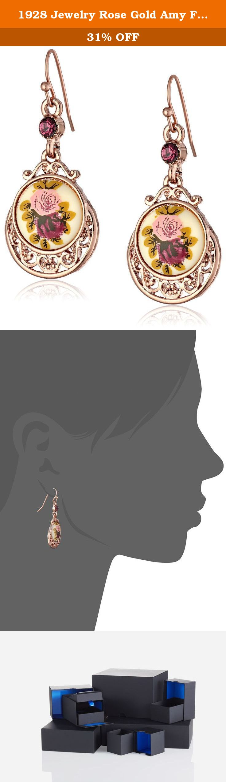 1928 Jewelry Rose Gold Amy Flower Dangle Earrings A charming duo
