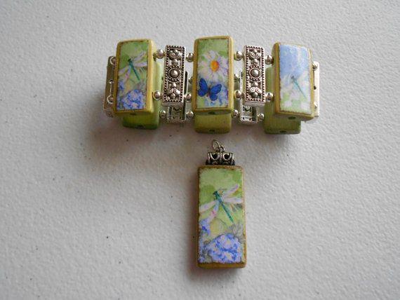 Dragonfly Bamboo Tile Collage Bracelet & by AlteredTileDesigns