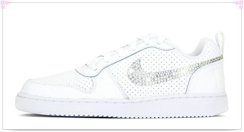 1a0412fe71 Over 70% Discount Off Popular 2017 Fashion glitter kicks Nike Court Borough  Low Hand Customized Crystallized Swarovski Swoosh White