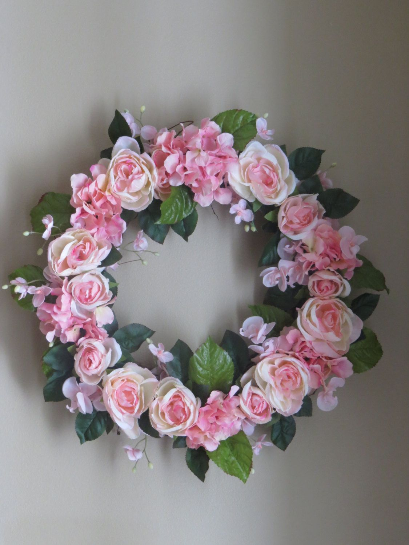 Easter Wreath, Pink Wreath, Spring Wreath, Summer Wreath, Wreath, Front Door Wreath, Rose's, Silk Flower Wreath, Door Wreath, Faux Flower by WaukeeCreations on Etsy