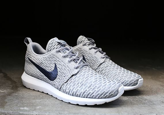 Nike Flyknit Roshe Run Grey Navy Sneakernews Com Nike Roshe Flyknit Nike Shoes Outlet Mens Nike Shoes
