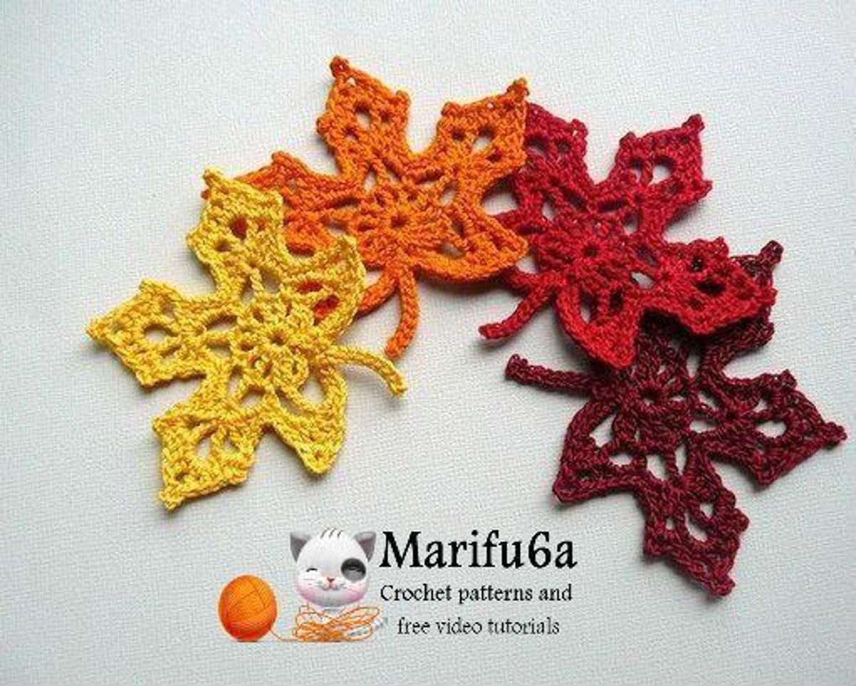 Crochet maple autumn leaf | Leaves, Crochet and Crocheting patterns