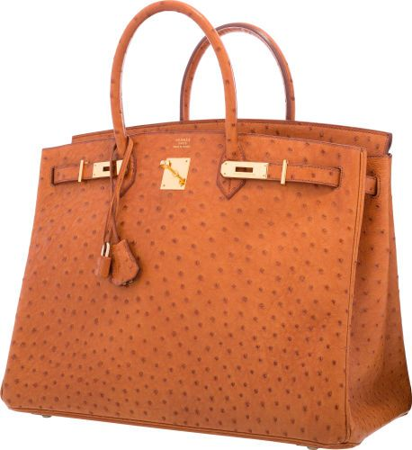 Hermes 40cm Cognac Ostrich Birkin Bag with Gold Hardware.  f2420cacfdc14