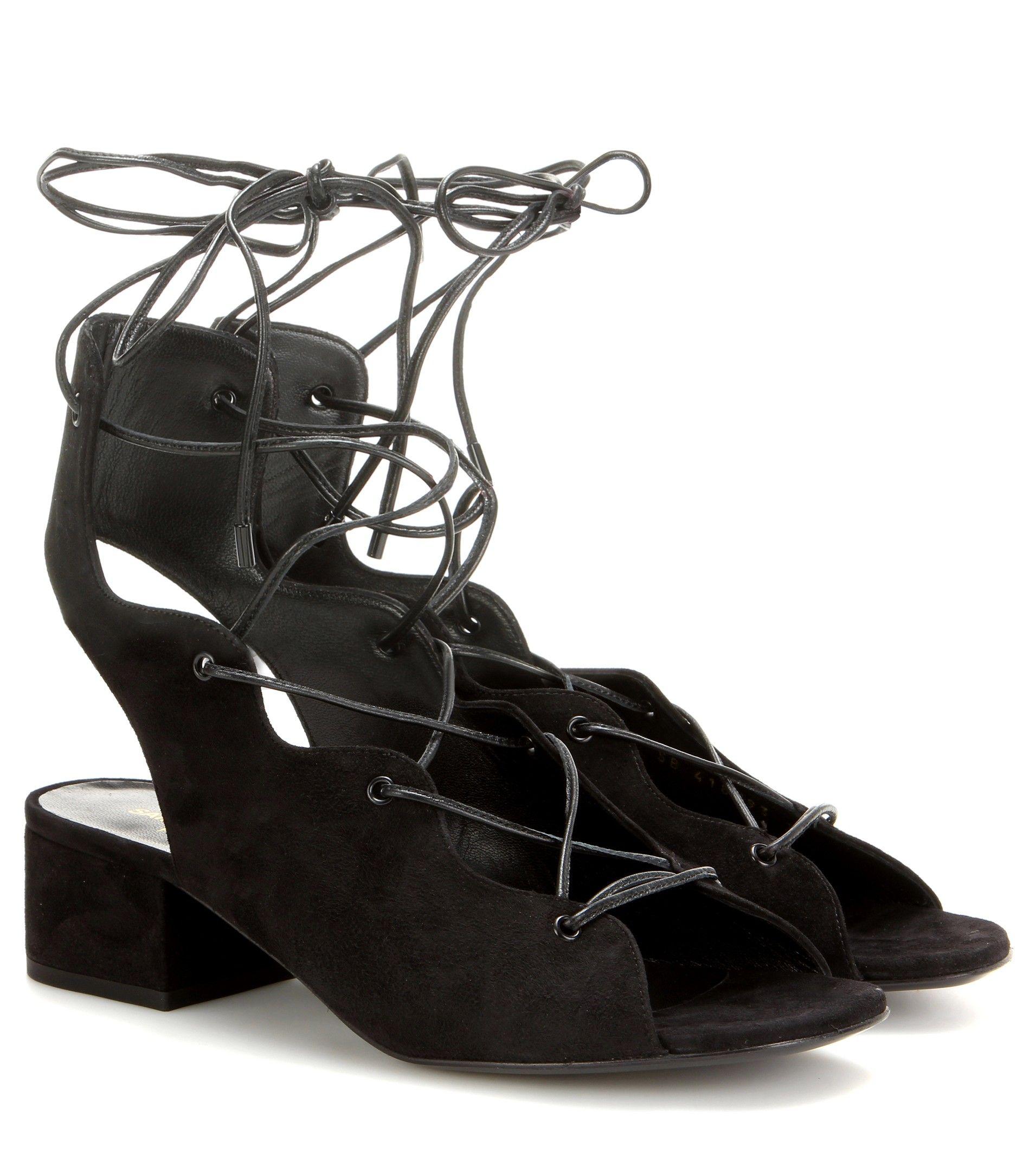 Black newborn sandals - Saint Laurent Babies 40 Black Suede Sandals