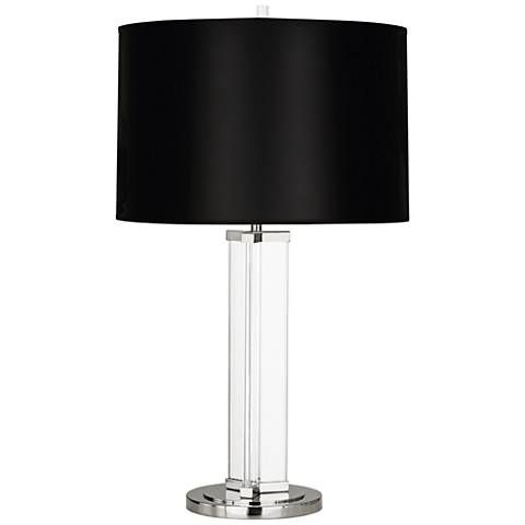 Fineas Nickel Glass Table Lamp With Black Opaque Shade 19c88