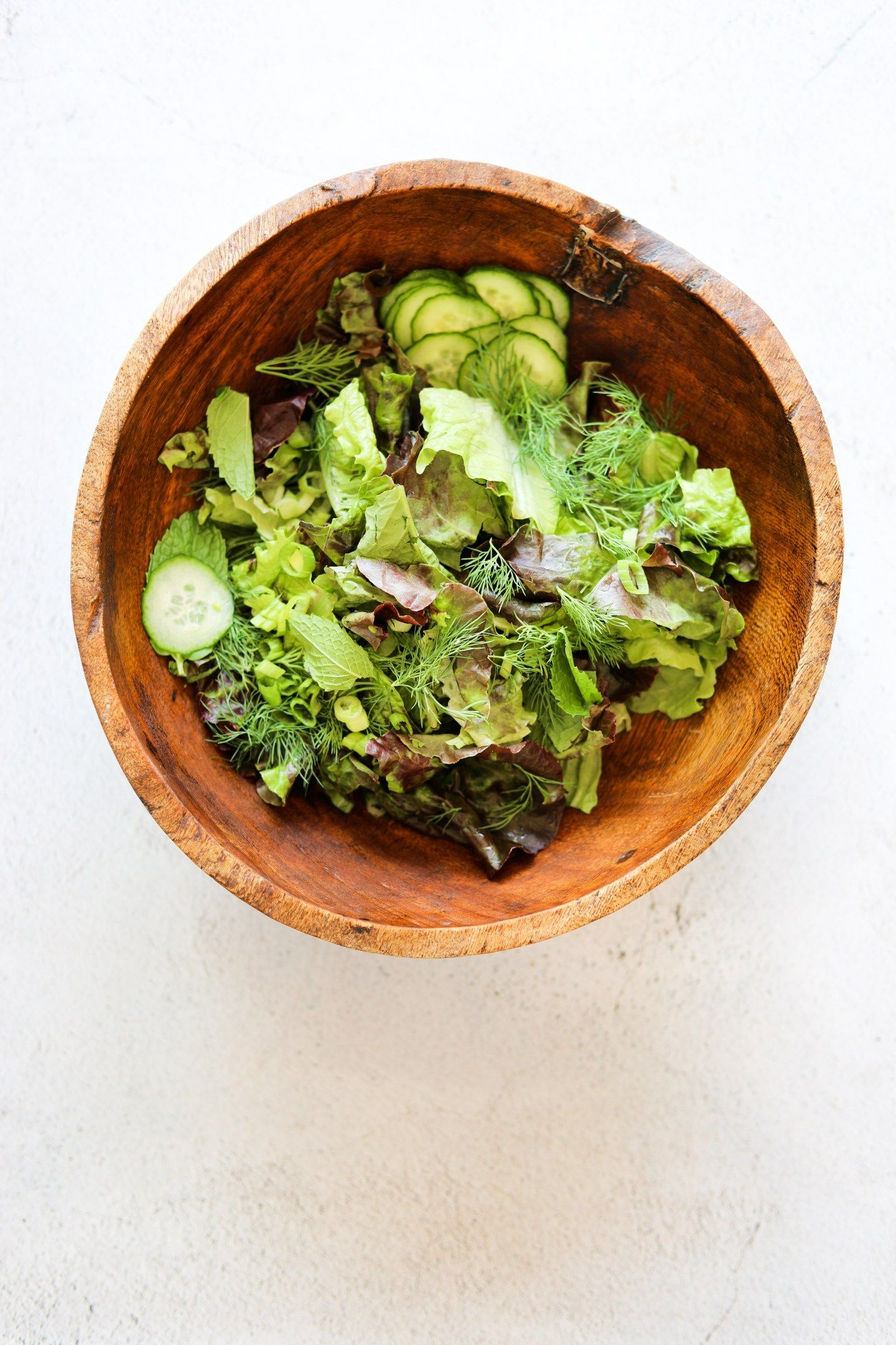 Green Goddess Salad With Basil Tahini Dressing Craving California Recipe Tahini Dressing Yummy Lunches Eat Salad [ 2160 x 1440 Pixel ]