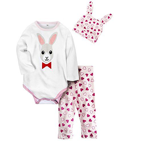 571cc4d53f46 Big Elephant 3 Pieces Baby Girls Long Sleeve Cute Animal Romper with Hat  D67 http: