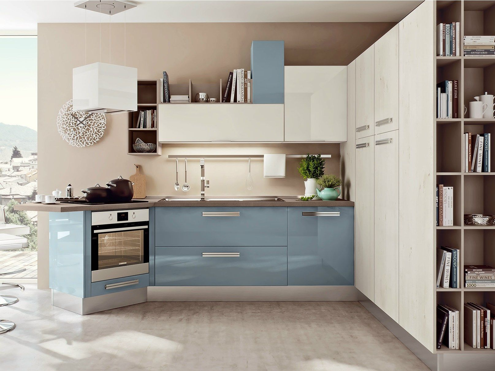 Cucina Kyra Creo Prezzo lacquered fitted kitchen with peninsula swing collection by
