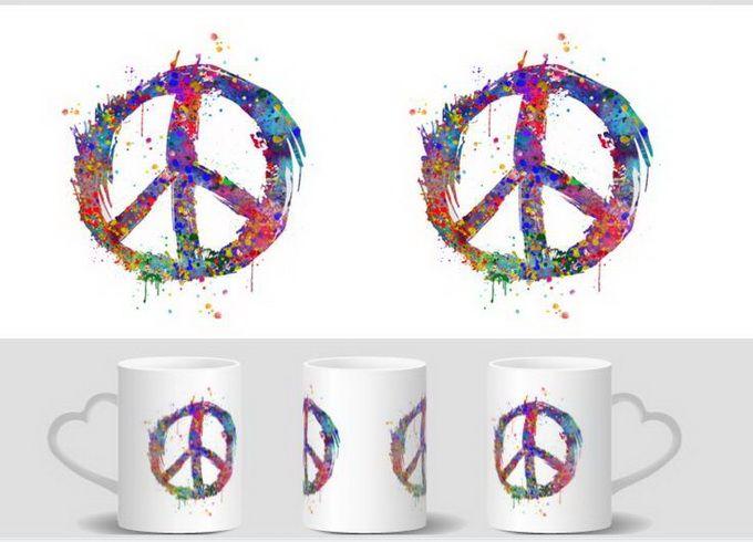 Peace Sign Symbol Mugs Heat Changing Color Heat Reveal Mugen Magic