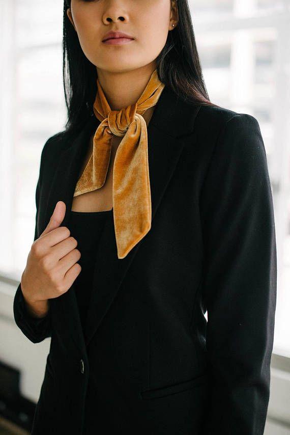 4b202b153818c Gold Velvet Skinny Scarf/Neckerchief/Headband/Hair Tie/Birthday Gift ...