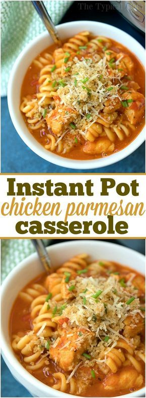 How we're connecting at dinnertime with Instant Pot chicken parmesan casserole! The classic dish you love cooked in just 10 minutes in your pressure cooker! ad #instantpot #chicken #recipe via @thetypicalmom #instantpotchickenrecipes