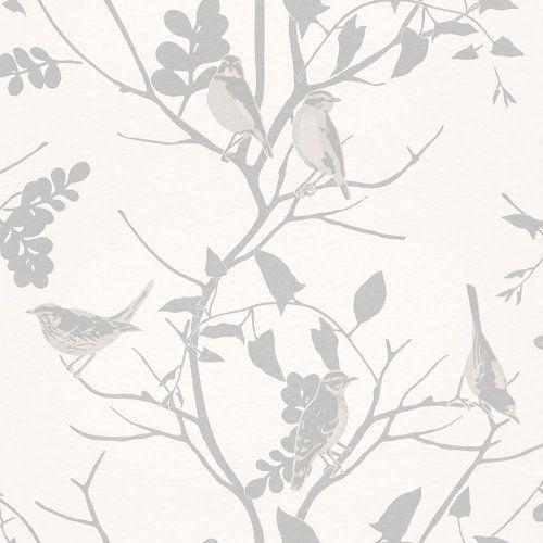 Silver Grey White 250626 Songbird Birds Trees Branch Rasch Wallpaper By Rasch Http Www Amazon Co Uk Grey And White Wallpaper Wallpaper Bird Tree