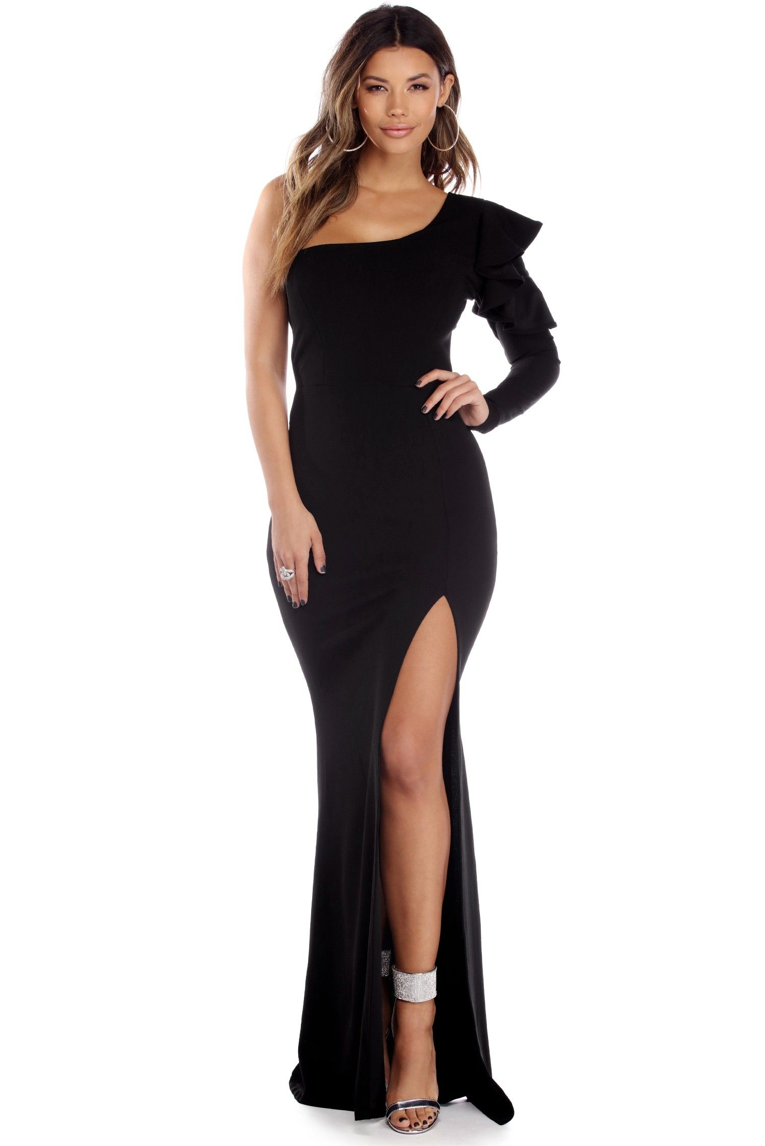 Aylin black one shoulder ruffle crepe dress evening dresses
