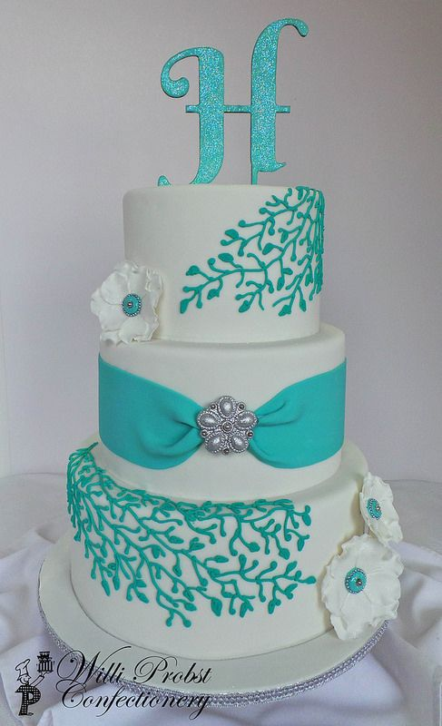 wedding cake turquoise turquoise amp silver three tier wedding cake willi probst 26731