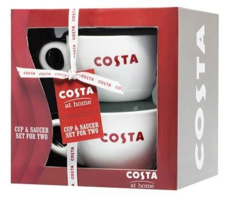 Costa Coffee Cappuccino Mug Cup Saucer Set For 2 Costa