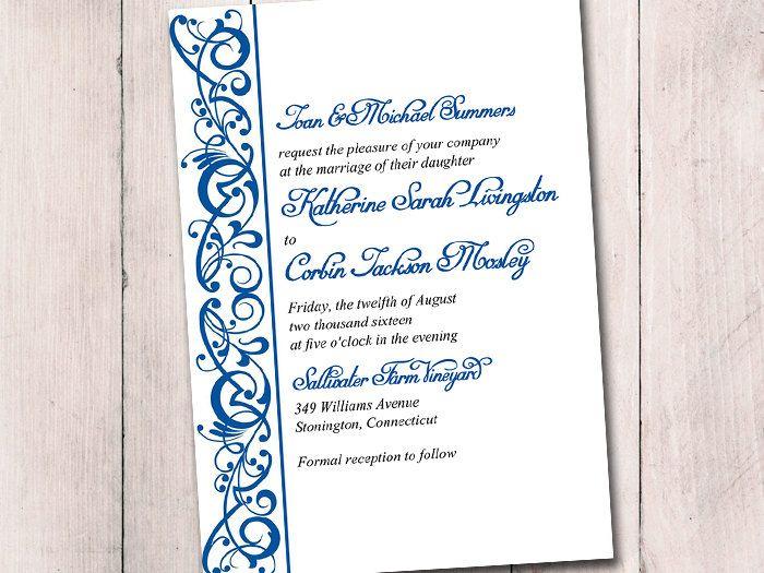 DIY Wedding Invitation Template - Horizon Invitation  - microsoft invitation templates