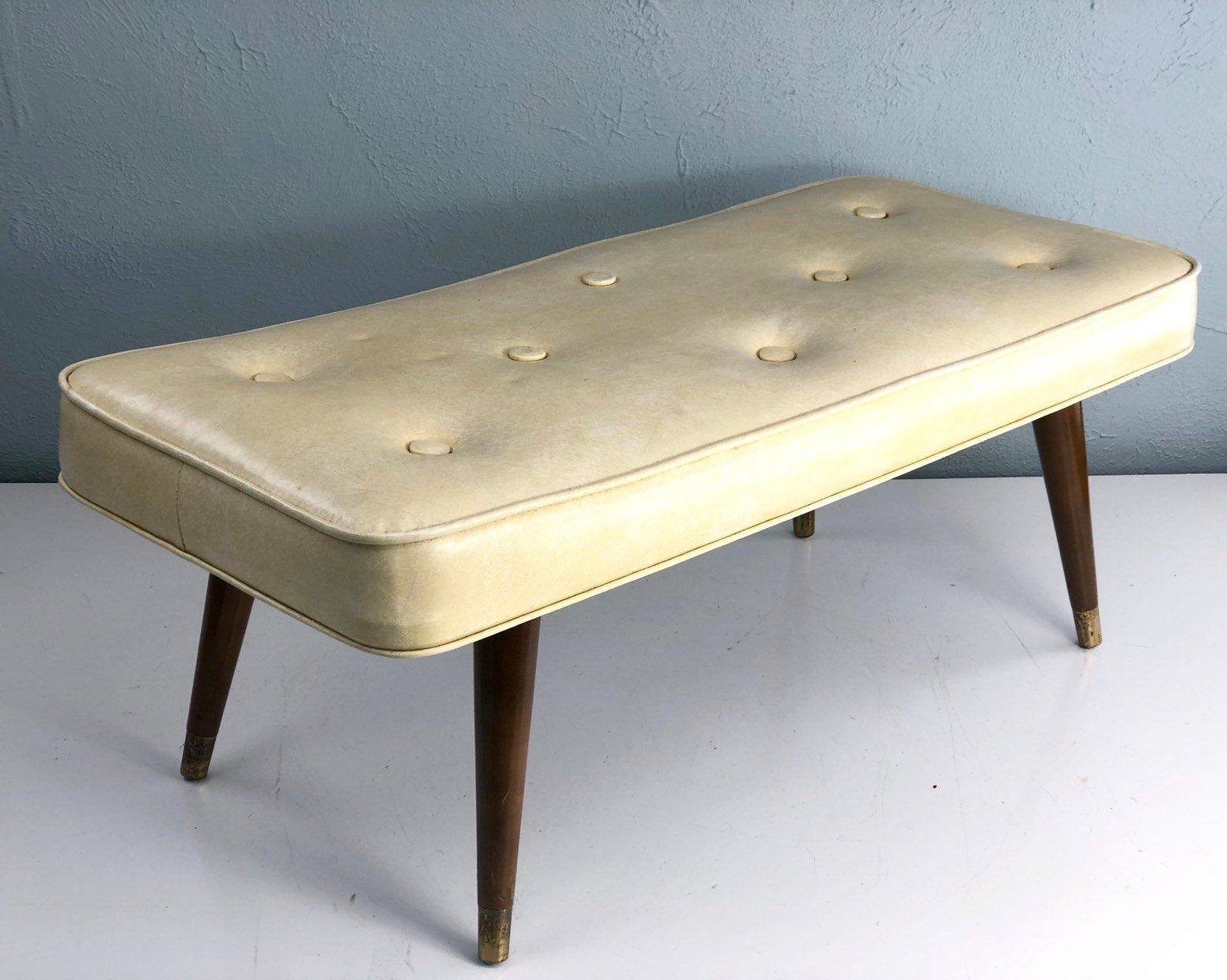 Extra Long Vintage Mid Century Modern Footstool Bench With Tapered Legs Foot Stool Atomic Mid C Leather Chair With Ottoman Foot Rest Ottoman Modern Footstool