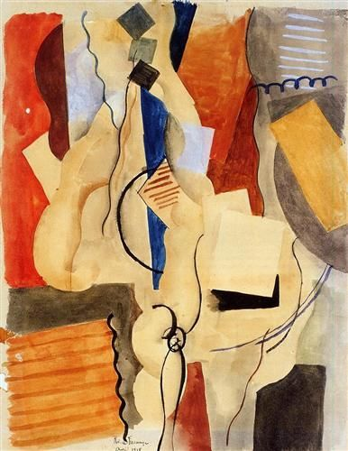 Smoking in the Shelter - Roger de La Fresnaye - Cubism, 1918