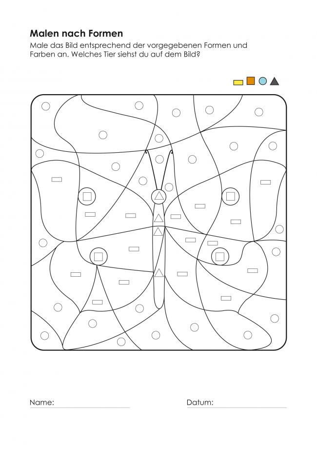 kigaportal kindergarten malen nach formen der schmetterling rund um sprache buchstaben. Black Bedroom Furniture Sets. Home Design Ideas