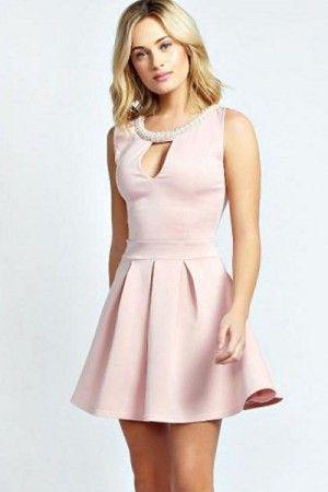 Vestido rosa con hermosos Wedges Dorados (1)