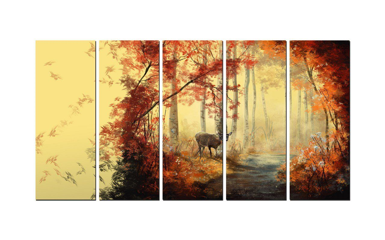 Amazon.com: NAN Wind 5 Pcs Wall Art Painting Deer In Autumn Forest ...